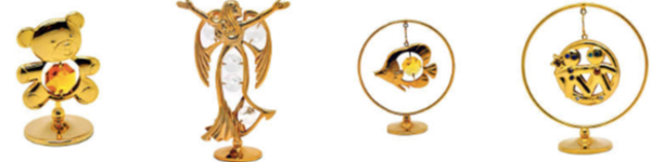 Figurines, gold-plated decorations with crystals from Crystocraft