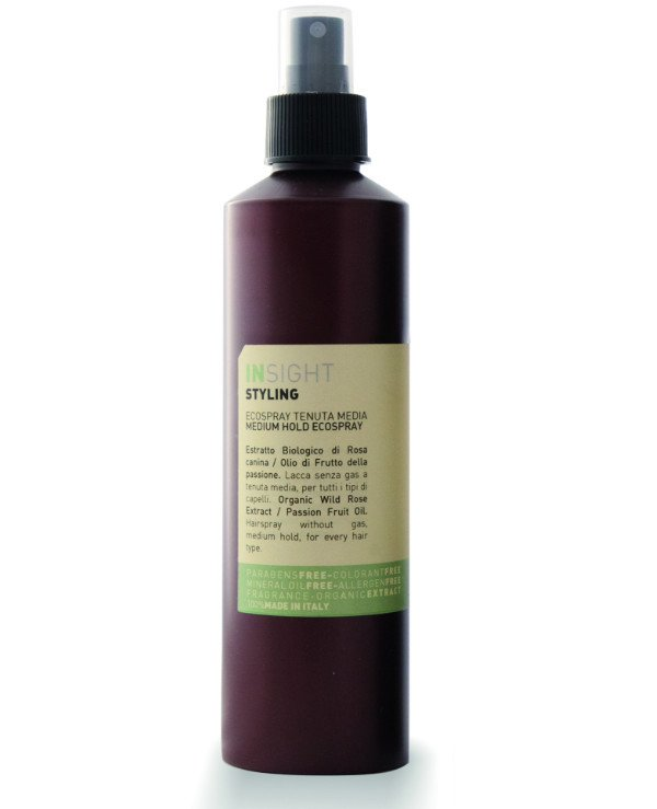 Insight Cosmetics - Lac-eco medium fixation for hair, with rosehip extract and passion fruit oil Styling Medium Hold Ecospray