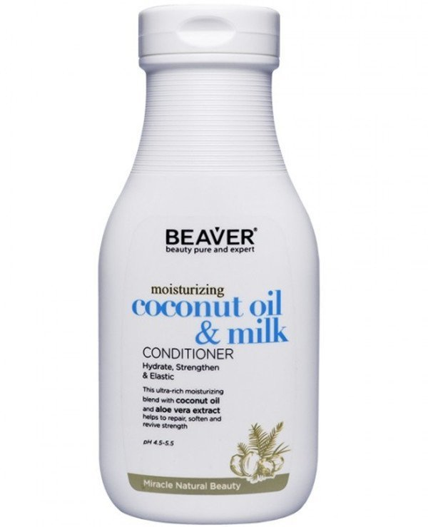 Beaver professional - Smoothing conditioner for dry and naughty hair with coconut oil Herbal Series SLS Free  Moisturizing Coconut Oil & Milk Conditioner