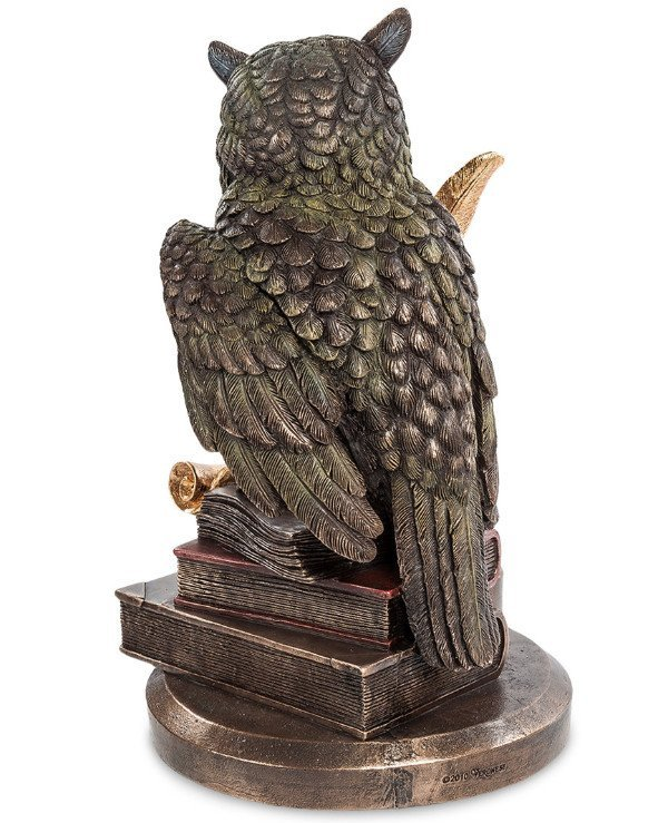 "Veronese - Statuette ""Owl"" (23cm) Attribute of the goddess Athena, the symbol of wisdom, knowledge  back"