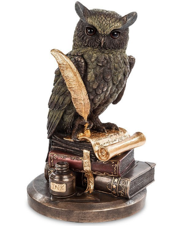 "Veronese - Statuette ""Owl"" (23cm) Attribute of the goddess Athena, the symbol of wisdom, knowledge Bronze"