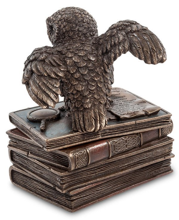 "Veronese - Casket ""Owl on the books"" (12cm) Wise Owl - a symbol of knowledge  back"