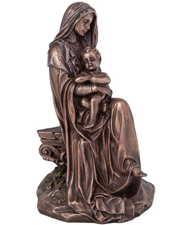 "Veronese - The statuette ""Virgin Mary with Jesus in His Hands"" (15 cm) Gift with love and care from Veronese Bronze"