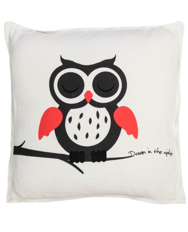 Home decor - Decorative pillow Owl with closed eyes - Night (45 * 45 cm)