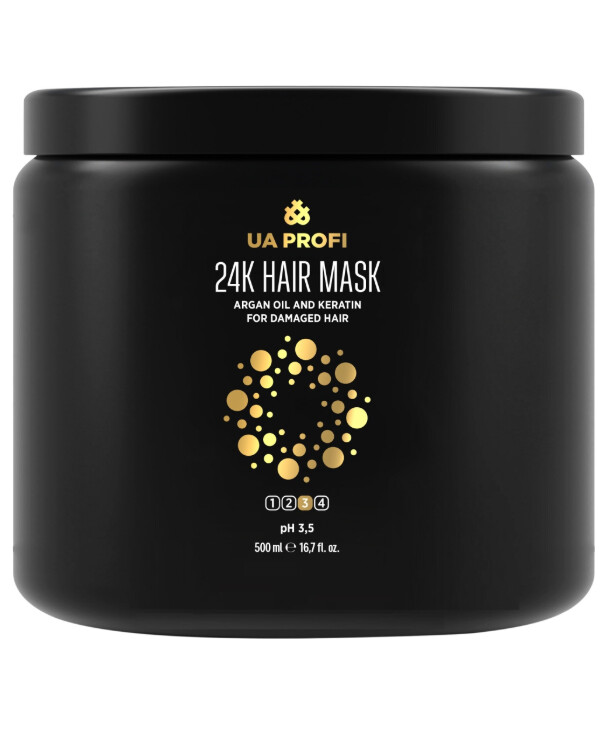UA Profi - Mask with argan oil and keratin for damaged hair 24K Hair Mask 500ml