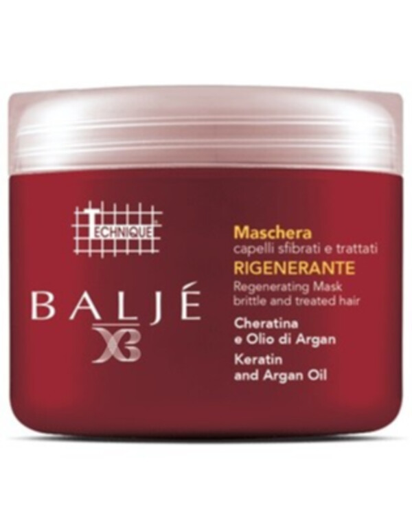 Technique Italy - Mask for damaged hair with keratin and argan Baljé Regenerating Mask for Brittle and Treated hair 500ml