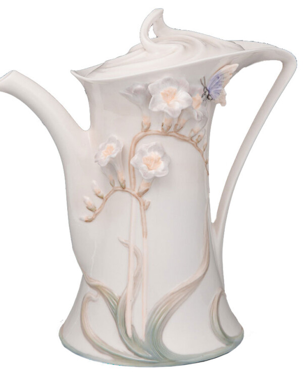 Veronese - Teapot Butterfly in a flower 21 cm  White