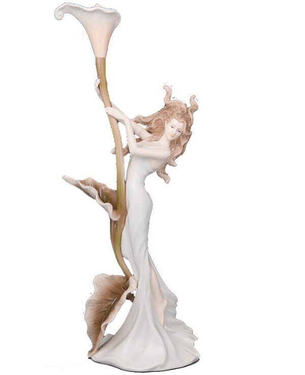 Veronese - Figurine Girl with calla lilies 32 cm  White