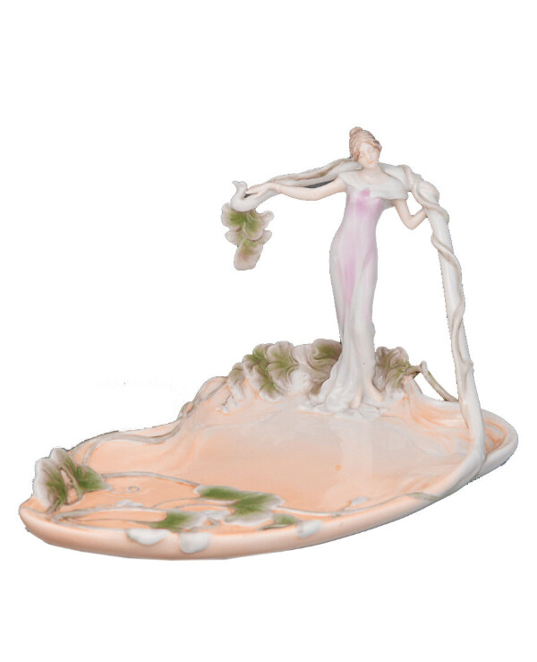 Veronese - Dish Girl in leaves 28 cm  Multicolor