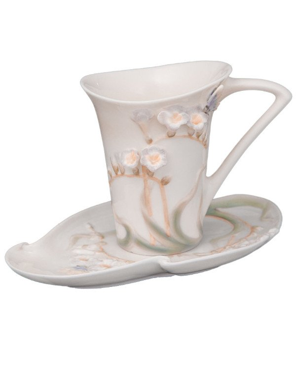 Veronese - Porcelain set: cup, saucer, spoon - Butterfly in flowers (10 cm)  White