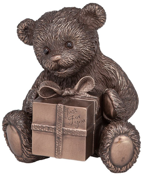 Veronese - Figurine Bear with a gift (12 cm) Bear with a gift - Just for you Bronze