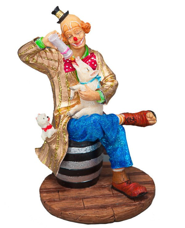 "Veronese Figurine ""Clown with a pig"" (14 cm) 