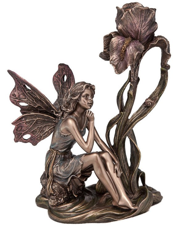 "Veronese - Candlestick ""The Fairy by the Flower"" (20 cm) Statuette-Candlestick - gift Bronze"