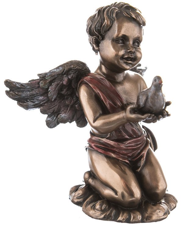 "Veronese - Figurine ""Cupid with a Dove"" Cupid (9 cm) Figurine ""Cupid with a Dove"" Veronese Bronze"