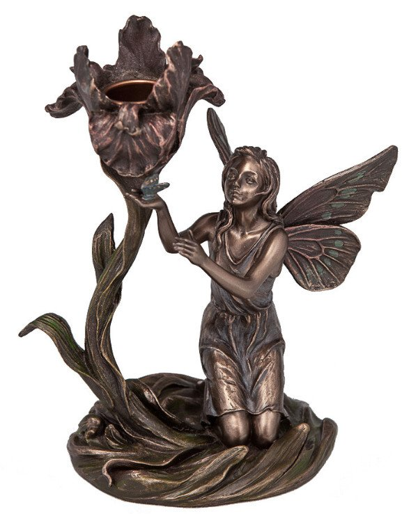 "Veronese - Candlestick ""Fairy with a flower"" (18 cm)  Bronze"