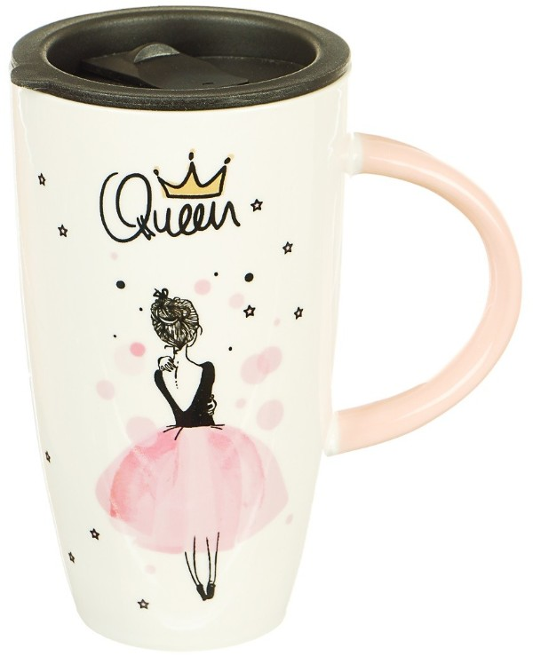 Home decor - Mug for girls with a print Queen, 570 ml