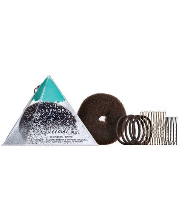Sephora - Hair Style Set: Roller, Gum, Hairpin - Brunette Impeccable Bun Set Accessories Brunette Brown