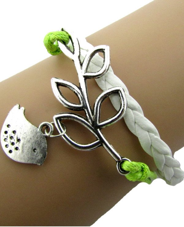 Bracelets - Bracelet Bird on a branch (white, green)