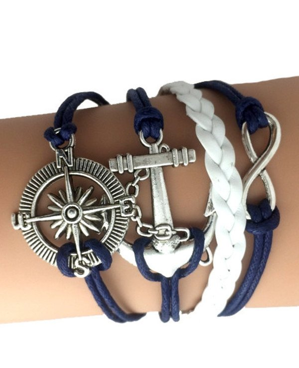 Bracelets - Bracelet of the Sea - Windrose (blue, white)