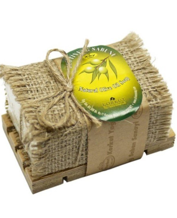 "Olivos - Natural olive soap ""Olive"" on a wooden stand Korkut Olive Oil soap with Wooden Dish 180 g"
