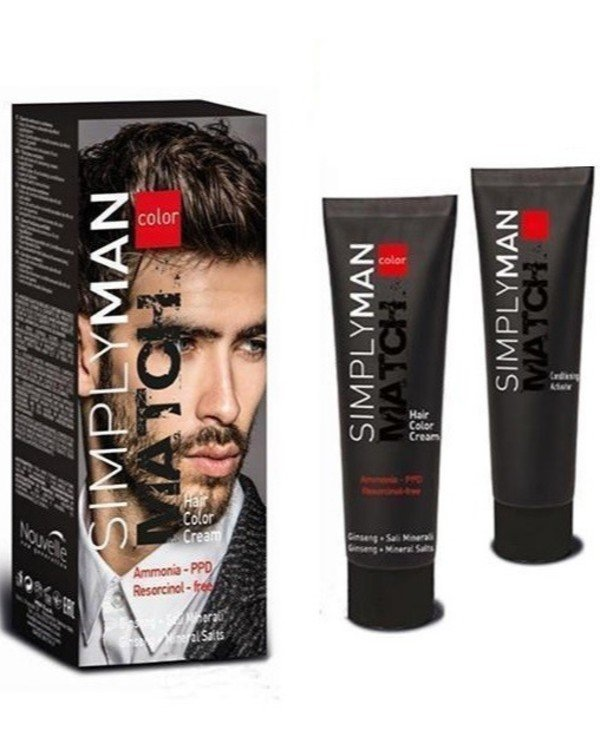 Nouvelle - Безаммиачная краска для мужчин Hair Color Cream 40мл*2