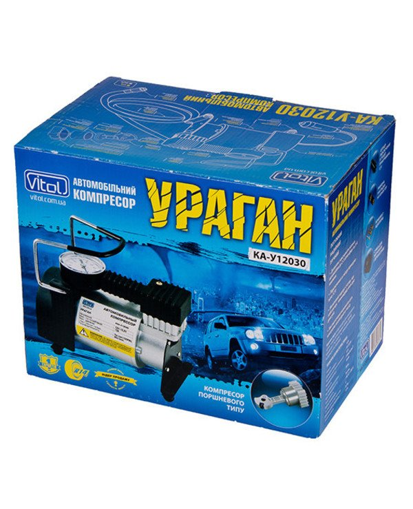 Vitol - Autocompressor Hurricane КА-У12030 100psi 14Amp 37L adapter   back