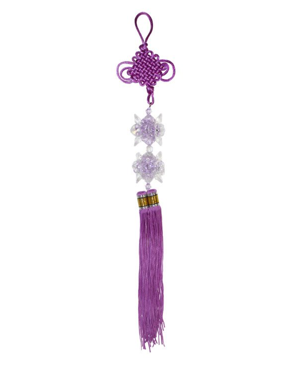 Pendant Feng Shui - a lucky knot with a double brush - purple with two purple crystals  back