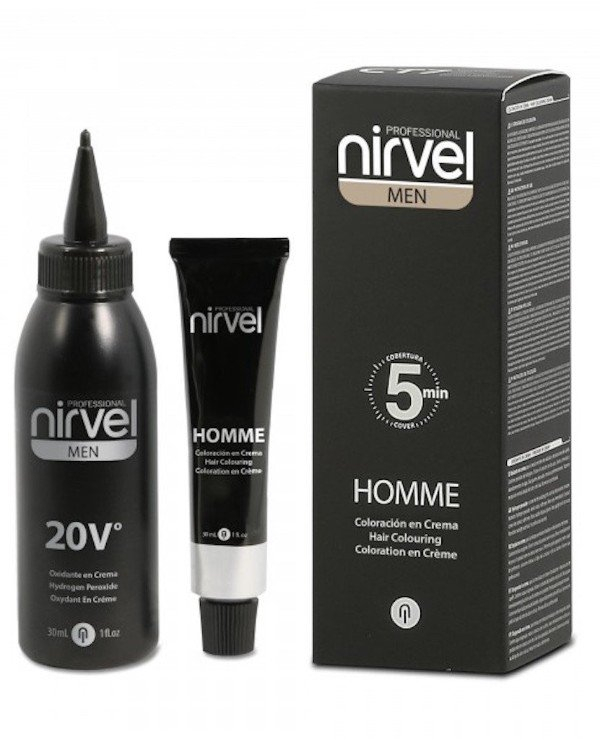 Nirvel Professional - Camouflage grey hair - Men's hair dye, toning Hair colouring cream Homme 5 min 30ml * 2, G-3 (DARK GREY)