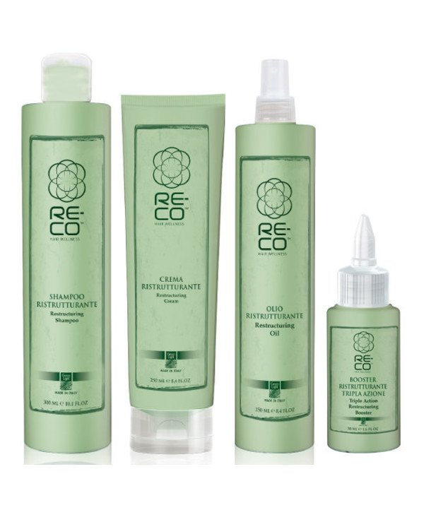 Green Light - Set for hair reconstruction (professional) Re-Co Hair Wellness (shm/300ml + oil/250ml + hair/cr/250ml + boos/50ml)