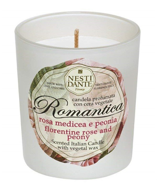 Nesti Dante - Candle Rose and Peony flavored Candles Romantica Rosa Medicea e Peonia White, 160 g