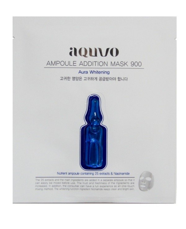 Aquvo - Brightening facial mask Ampoule Addition Mask 900 Aura Whitening