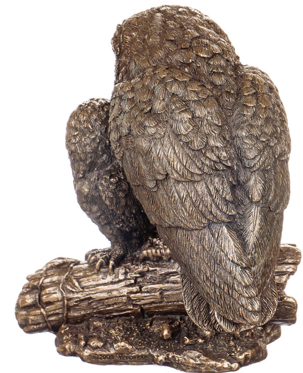 "Veronese - Figurine ""Owl with a owl"" (14 cm)  Bronze back"